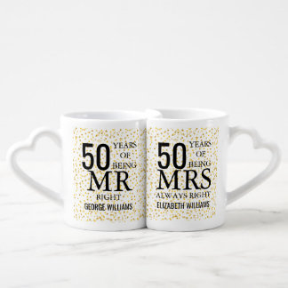 Gold Hearts Confetti 50th Anniversary Mr Mrs Right Coffee Mug Set