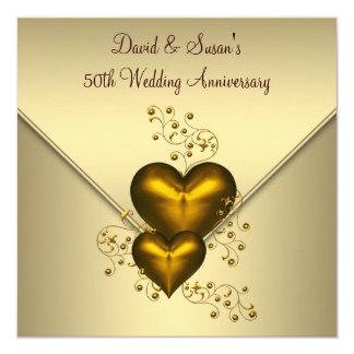Gold Hearts Elegant Gold 50th Wedding Anniversary 13 Cm X 13 Cm Square Invitation Card