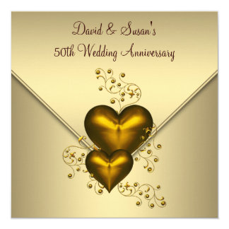 Gold Hearts Elegant Gold 50th Wedding Anniversary Card