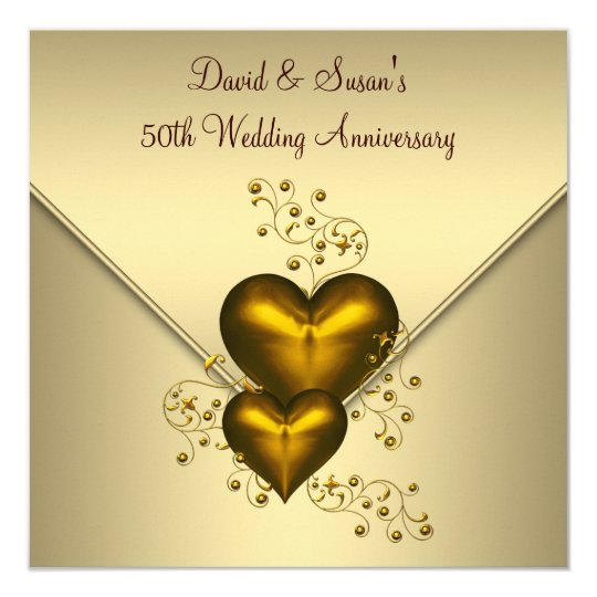 Gold hearts elegant gold 50th wedding anniversary invitation gold hearts elegant gold 50th wedding anniversary invitation stopboris Image collections