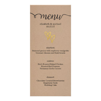 Gold Hearts Kraft Wedding Menu
