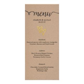 Gold Hearts Kraft Wedding Menu Customized Rack Card