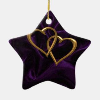 Gold hearts on Purple silk Christmas Ornament