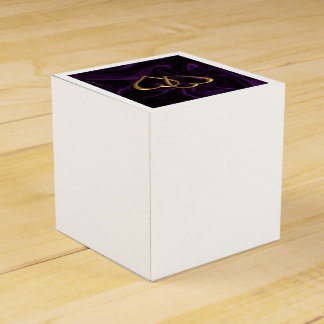 Gold hearts on Purple silk Favour Box