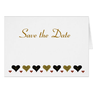 Gold Hearts Save the Date Greeting Card