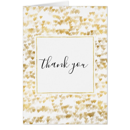 Gold Hearts Thank you Card