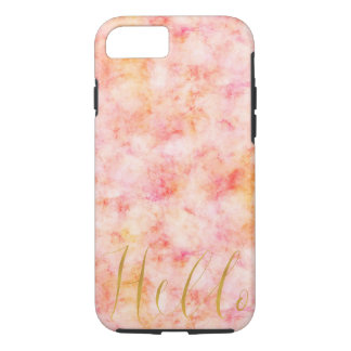 Gold Hello Pretty Pink Watercolor iPhone 8/7 Case