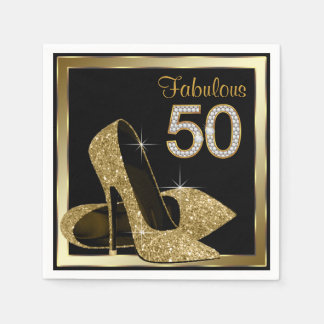 Gold High Heel 50th Birthday Party Disposable Serviette