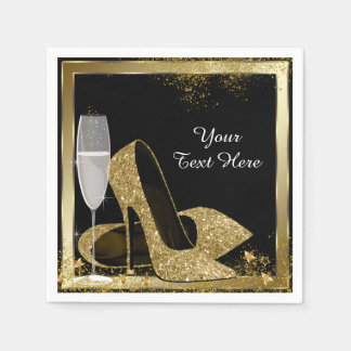 Gold High Heel Birthday Party Disposable Napkin