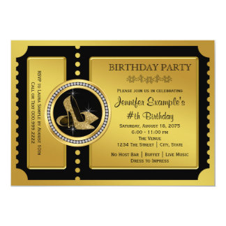 Gold High Heel Shoe Birthday Party Card