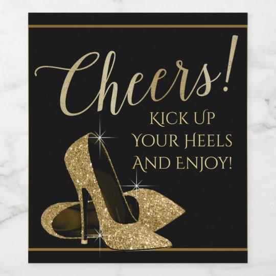 Gold High Heel Shoe Cheers Wine Bottle Labels