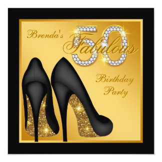 Gold High Heel Shoe Fabulous 50th Birthday Party 13 Cm X 13 Cm Square Invitation Card