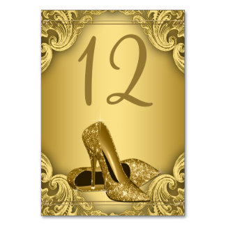 Gold High Heel Shoe Table Number
