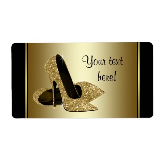 Gold High Heel Shoe Water Bottle Labels