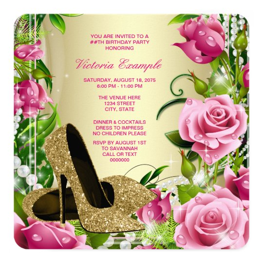 Gold High Heel Shoe Womans Rose Birthday Party