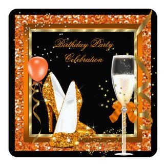 Gold High Heels Glitter Orange Birthday Black 13 Cm X 13 Cm Square Invitation Card