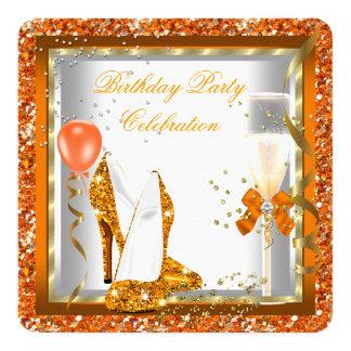 Gold High Heels Glitter Orange Birthday Party 2 13 Cm X 13 Cm Square Invitation Card
