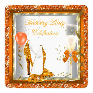 Gold High Heels Glitter Orange Birthday Party 2 Card