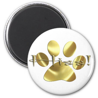 Gold Hisss! Cat Paw Print Refrigerator Magnets