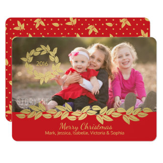 Gold Holiday Bay Leaf Wreath and Garland Red Photo 11 Cm X 16 Cm Invitation Card