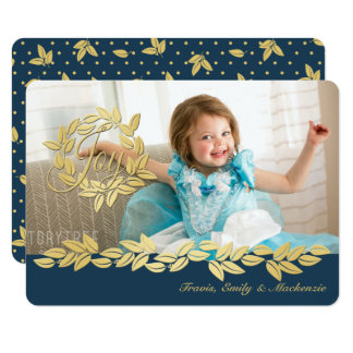 Gold Holiday Wreath and Garland Photo 11 Cm X 16 Cm Invitation Card