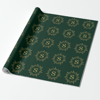 Gold Holly Christmas Wreath Monogram Holiday Wrapping Paper