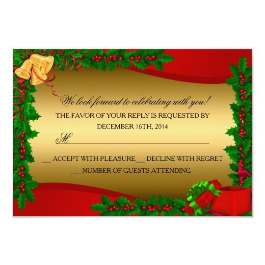 Gold Holly Leaves Bell Christmas Holiday RSVP Card