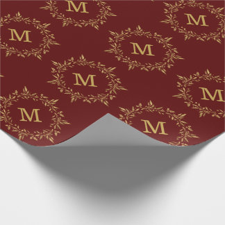 Gold Holly Wreath Christmas Custom Monogram Wrapping Paper