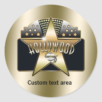 Gold Hollywood Retro Typography Star Party Sticker