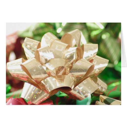 Gold Holographic Bow Greeting Card