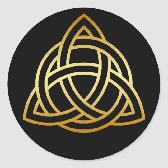 GOLD HOLY TRINITY KNOT ROUND STICKER