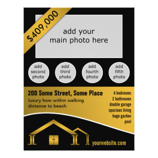Gold Home Icon For Sale Real Estate Agent Flyers