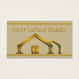 Gold Home Icon Stucco Building and Construction Business Card