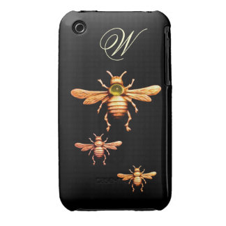GOLD HONEY BEES MONOGRAM iPhone 3 CASES