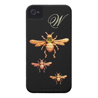 GOLD HONEY BEES MONOGRAM iPhone 4 COVER