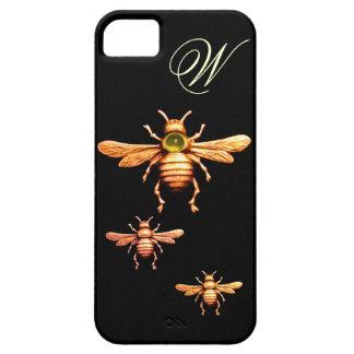 GOLD HONEY BEES MONOGRAM iPhone 5 CASE