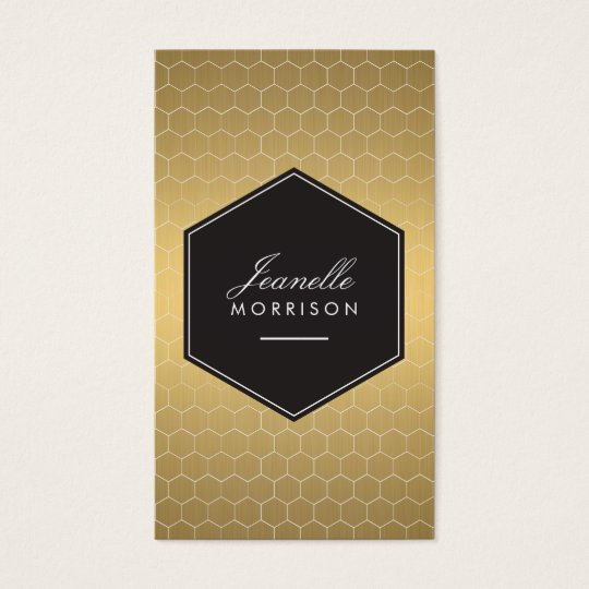 Gold Honeycomb Glamourous Beauty Business Card