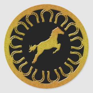 GOLD HORSE AND HORSESHOES ROUND STICKER