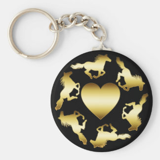 GOLD HORSES RING KEY CHAINS
