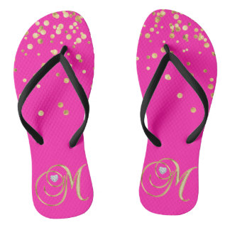 Gold HOT PINK Monogram Letter 'M' Heart - Women Flip Flops