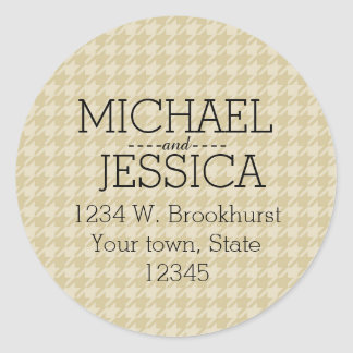 Gold Houndstooth Personalized address Round Stickers