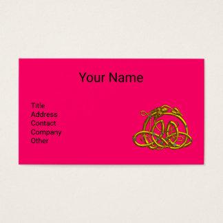 GOLD HYPER DRAGON,CELTIC KNOTS Hot Pink Fuchsia Business Card