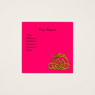 GOLD HYPER DRAGON CELTIC KNOTS,Pink Fuchsia Black Square Business Card