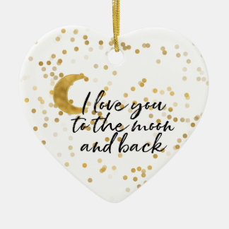 Gold I love you to the moon Christmas Ornament