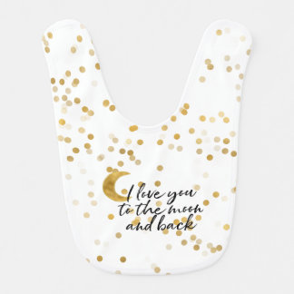 Gold I love you to the moon confetti Bib