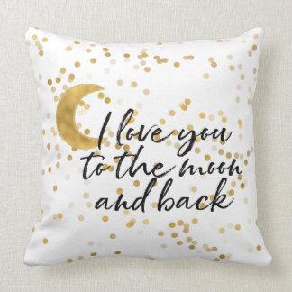 Gold I love you to the moon confetti Cushion