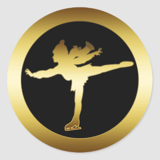 GOLD ICE SKATER CLASSIC ROUND STICKER