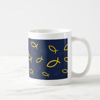 Gold Ichthus Pattern on Navy Blue Background Basic White Mug
