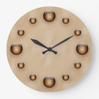 Gold, Illuminated Glass Gems against Tan Texture Large Clock