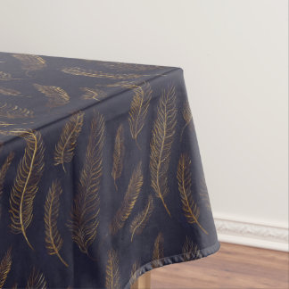 Gold Illustrated Feather Patterned Tablecloth
